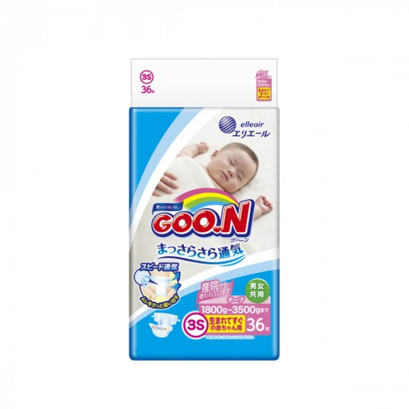 Diapers GOO.N Premature (1.8 - 3 kg), 36 pcs