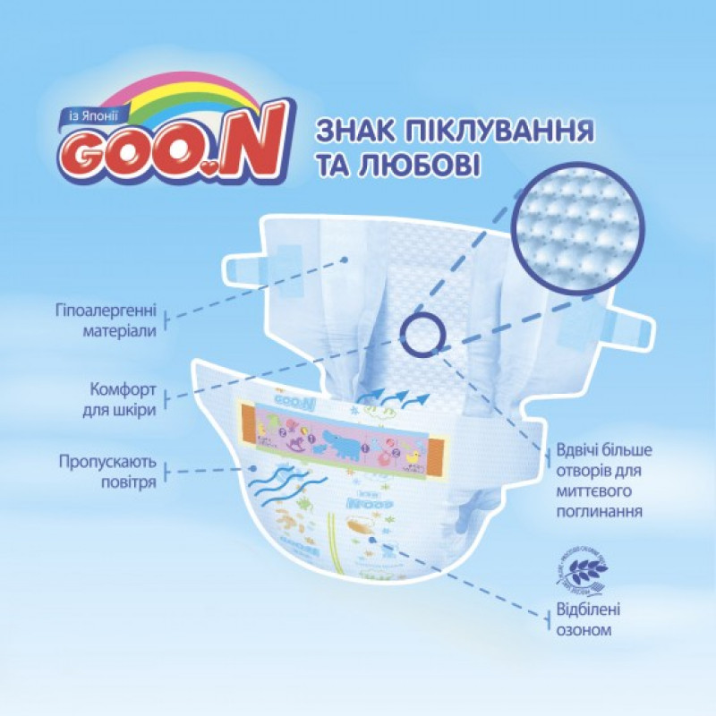 Diapers GOO.N Premature with Velcro (1.0 - 2.2 kg), 30 pcs