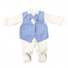 Комплект на выписку для мальчика с голубой жилеткой