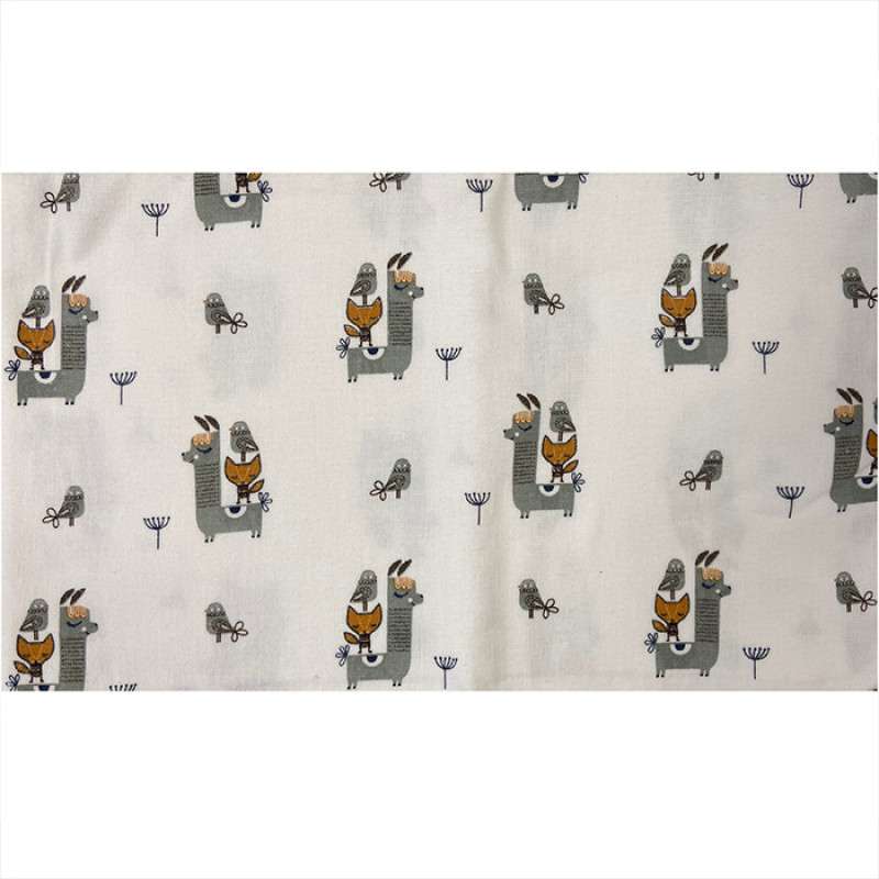 The diaper is flannel   with foxes